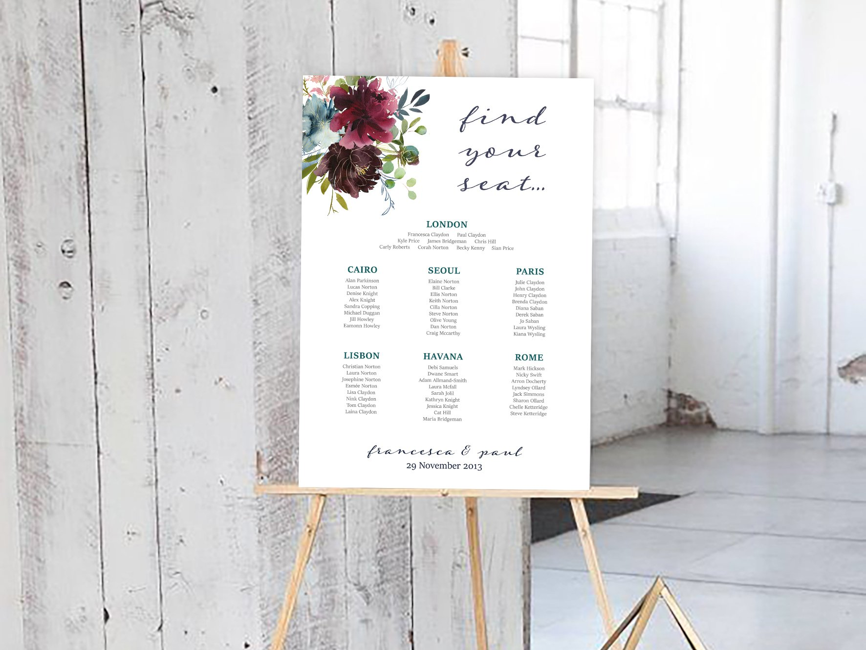 Floral bouquet design wedding table plan / Francesca Norton Wedding Stationery