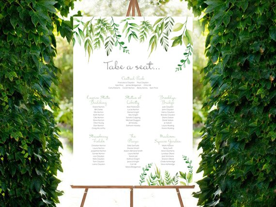 Wedding greenery table plan poster / Francesca Norton Wedding Stationery