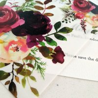 Vellum crimson floral two layer save the date - Francesca Norton Wedding Stationery