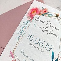 Pink and turquoise frame save the date - Francesca Norton Wedding Stationery