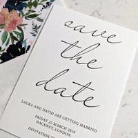 Floral calligraphy save the date - Francesca Norton Wedding Stationery