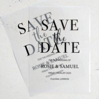 Minimalist modern transparent save the date - Francesca Norton Wedding Stationery